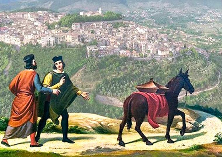 Immagine pittorica raffigurante la scena della mula con le reliquie di San sisto I sul dorso, in direzione di Alatri. Vista di Alatri sullo sfondo.