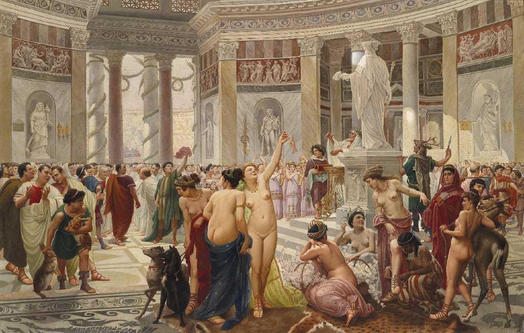 Celebrazione dei Floralia, i festeggiamenti romani per l'arrivo della Primavera in un dipinto del 1899.