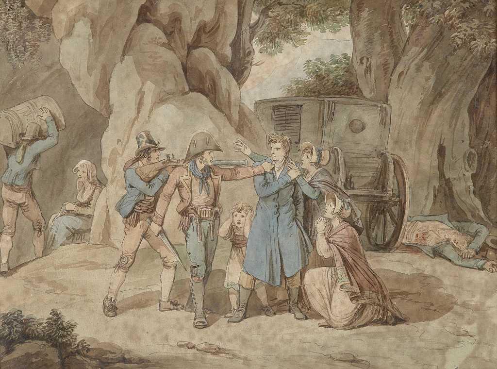 Dipinto raffigurante alcuni briganti nell'atto di assalire un gruppo di viandanti. Nell'Ottocento numerosi briganti assalivano i viandanti nei luoghi attraversati oggi dal Sentiero dei Briganti, nell'Alta Tuscia.