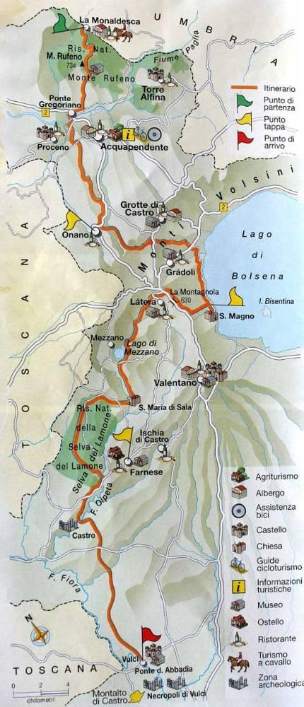 Mappa del Sentiero dei Briganti, con l'indicazione del percorso e dei principali luoghi attraversati dall'itinerario.
