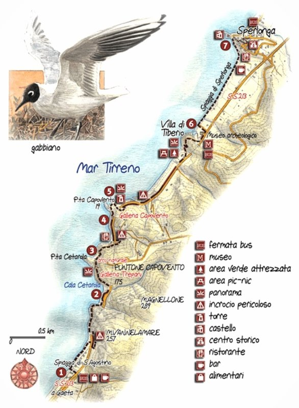 Antica via Flacca, mappa del percorso di trekking tra Gaeta e Sperlonga.