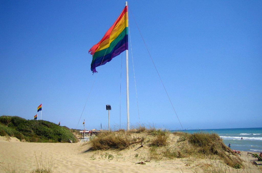 Spiaggia di Capocotta, immagine delle dune di sabbia, ricoperte di vegetazione e delle bandiere LGTB.