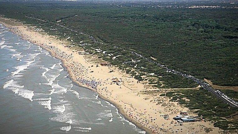 Dune di Capocotta, vista aerea. Immagine del litorale a ridosso della Tenuta di Castel Porziano, caratterizzato dalla presenza di dune e vegetazione nativa di macchia mediterranea