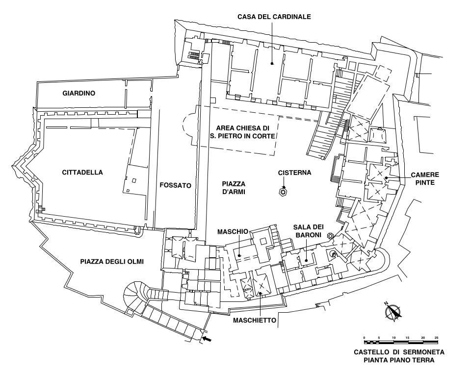 Castello Caetani di Sermoneta, pianta del pian terreno, con l'indicazione delle strutture che compongono il complesso architettonico